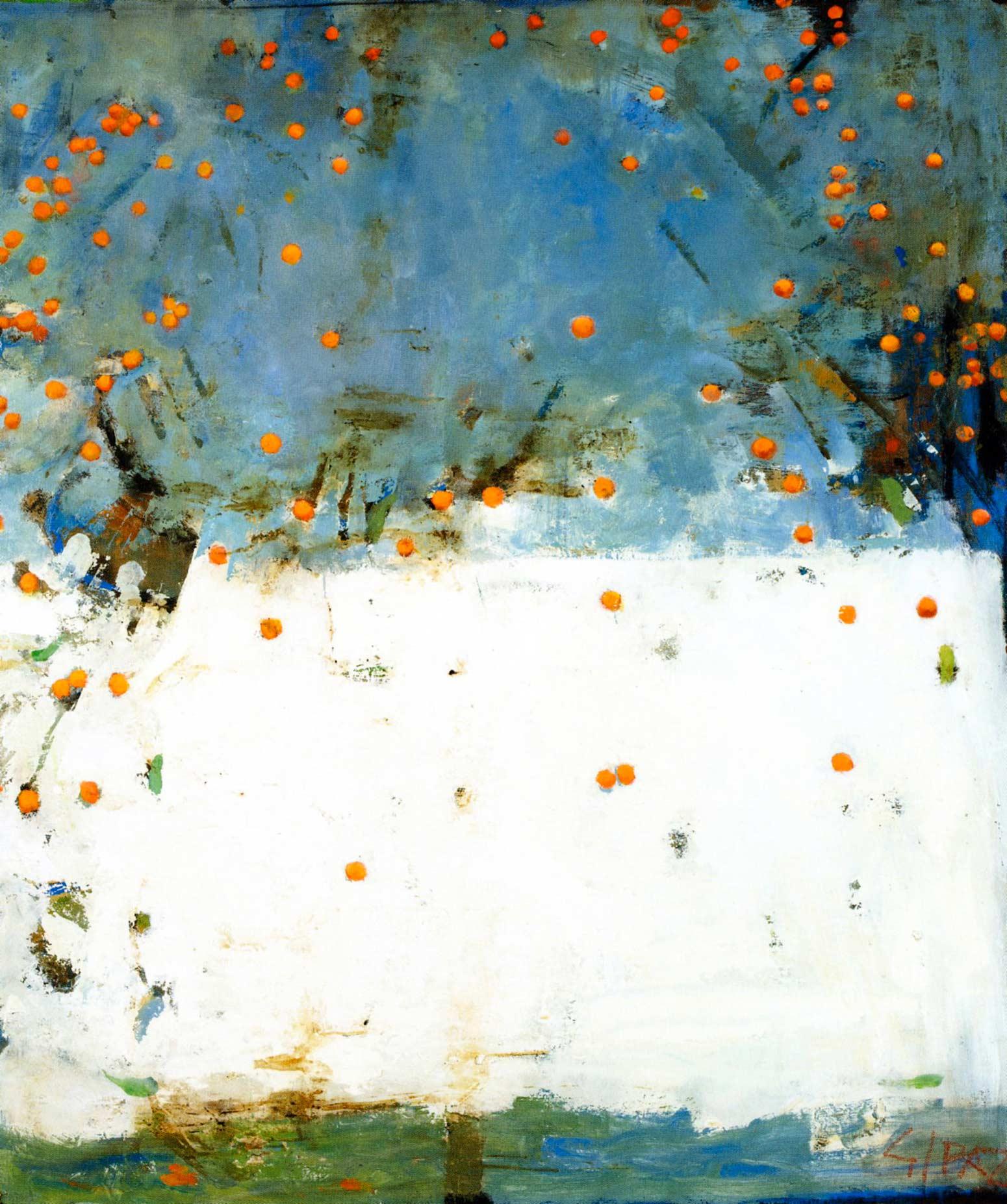 Giovanni Spazzini - Cachi su fondo azzurro