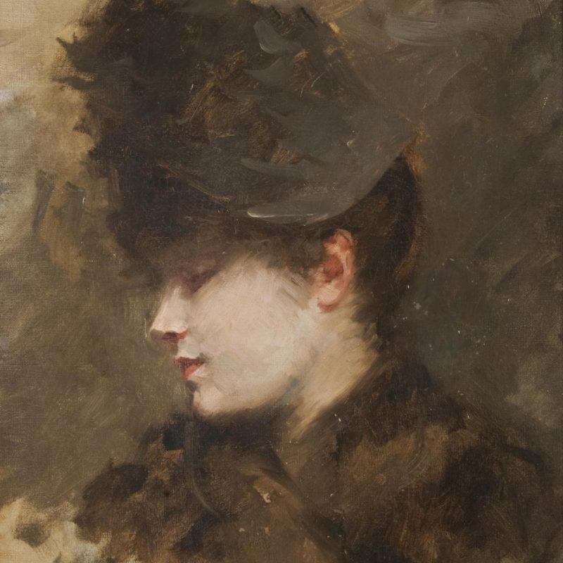 Giuseppe De Nittis - Testa femminile di profilo con cappellino