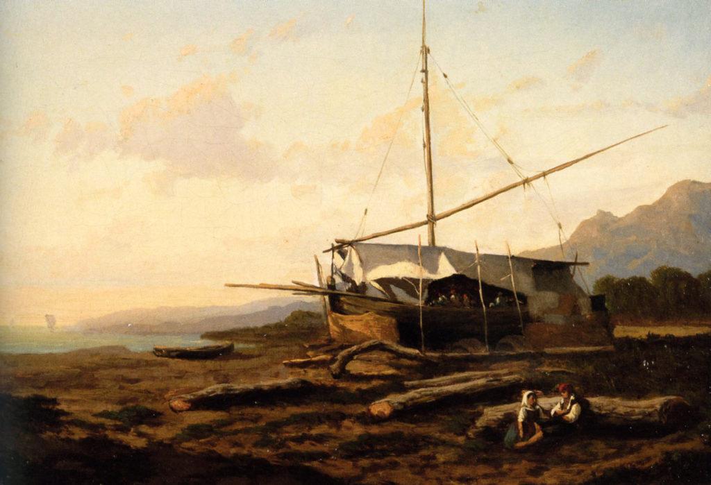 Serafino De Tivoli - Marina con pescatori